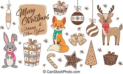 Big set of cute animal and christmas hand drawn art design elements baubles, gift, star. Woodland animals vector illustration