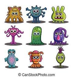 Big set of cute cartoon monsters