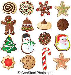 Big set of Cute Christmas cookies isolated on white