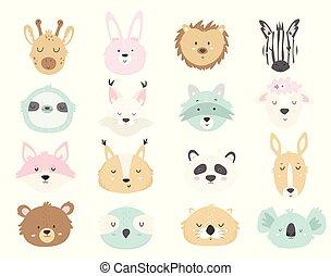 Big set of cute hand drawn animals.