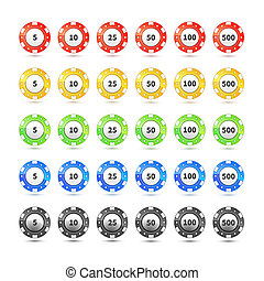 Big set of different nominal and colours casino chips on white
