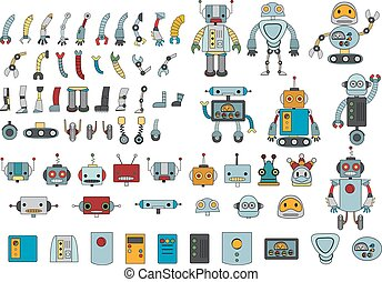 Big set of different robot parts in color and some examples