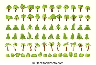 Big set of different trees and bushes