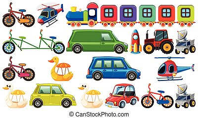 Big set of different types of transportation on white background