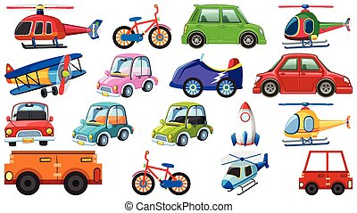 Big set of different types of transportations on white background
