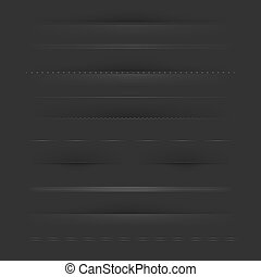 Big Set Of Dividers On Dark, Vector Illustration