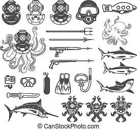 Big set of diving icons. Diver equipment, weapon, sea animals. D