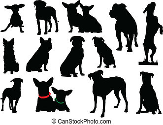 Big set of dog silhouettes. Vector