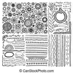 big set of doodle sketch flower design elements