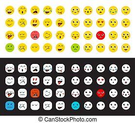Big Set of Emoticons or Emoji for Devices. Vector Illustration.