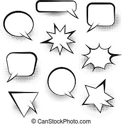 Big set of empty retro speech bubbles