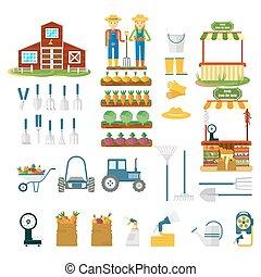 big set of farm icons