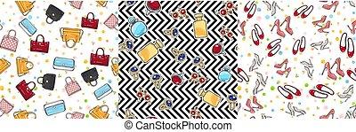 Big Set of Fashion Objects Seamless Pattern