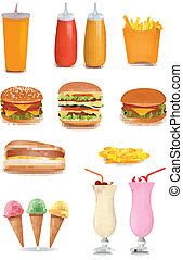 Big set of fast food products. Vector illustration.