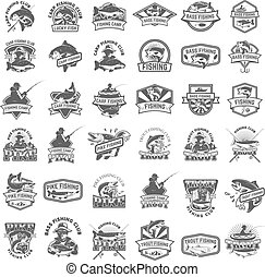 Big set of fishing icons. Carp fishing, trout fishing, bass...