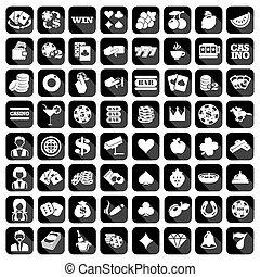 Big set of flat casino icons.