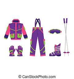 Big set of flat style skiing, hiking equipment