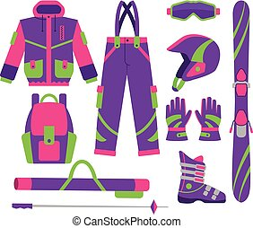 Big set of flat style vector skiing objects