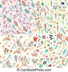 Big set of floral cute patterns with colorful rustic pastel flowers.eps