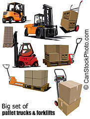 Big set of Forklifts and pallet tr