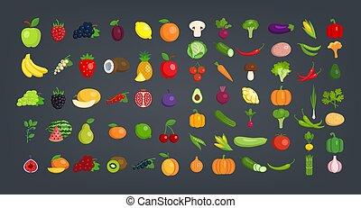 Big Set of fruits and vegetables.