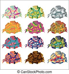 Big set of gift bows with ribbons. Vector