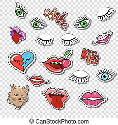 Big set of Girl Fashion Comics Style Patch Badges