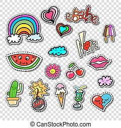 Big set of Girl Fashion Style Patch Badges