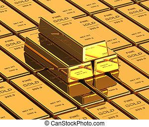 Big Set of Gold bars. Close up Image
