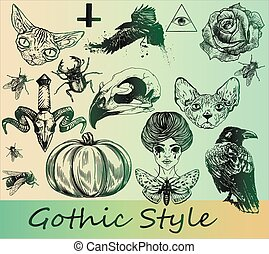 Big set of gothic stickers - Thematic art stickers -...