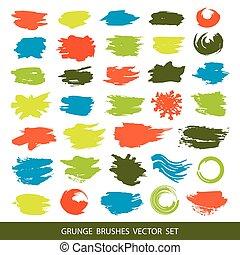 Big set of grunge brush strokes.