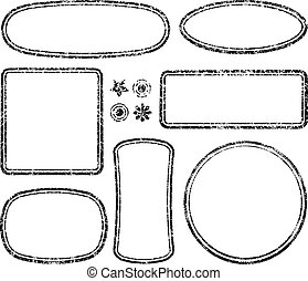 Big set of grunge templates for rubber stamps with auxiliary elements