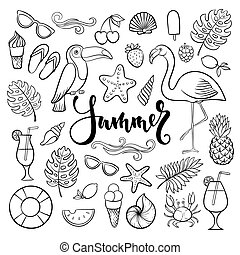 Big set of hand drawn cute cartoon summer symbol and objects for wrapping, package, poster, web design, fabric. Vector illustration isolated over white background.