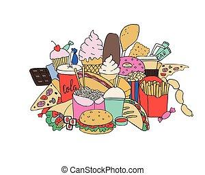 big set of hand drawn doodle fast food. Hand drawn.
