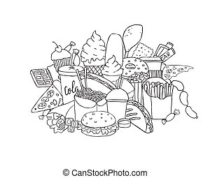 big set of hand drawn doodle fast food. Black and white Hand drawn ink illustration