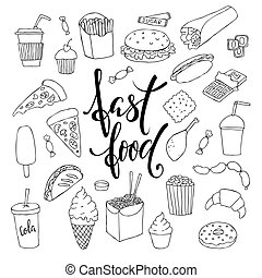 big set of hand drawn doodle fast food with lettering.