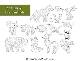 Big set of hand drawn forest illustraitions with color cartoon animals.