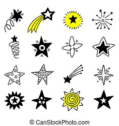 Big set of hand drawn stars on a white background.
