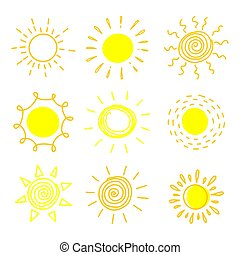 Big set of hand drawn suns on a white background.