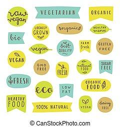 Big set of healthy food badges. Bio, organic