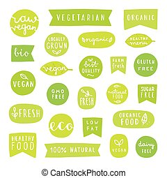 Big set of healthy food badges.