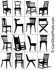 Big set of home chair silhouettes.
