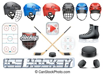 Big set of ice hockey sport