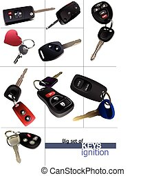 Big set of ignition car keys with remote control isolated over white background . Vector illustration