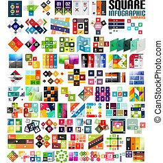 Big set of infographic modern templates - squares. Geometric...