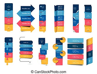 Big set of infographics step by step vertical tables, elements, schedules, banners, charts.