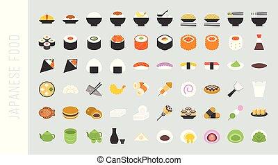 Big set of japanese food and beverage flat icon sushi,...