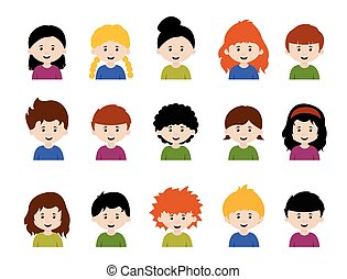 Big set of kids avatars, cute cartoon boys and girls faces with various emotions