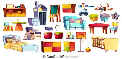 Big set of kids furniture and toys