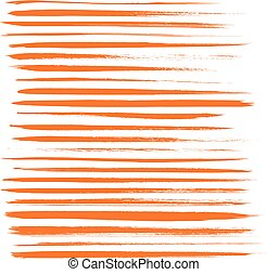 Big set of long texture of dry brush strokes of orange paint
